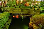 Japanese garden by night with traditional bridge over water pond at Asakusa, Tokyo, Japan Stock Photo - Royalty-Free, Artist: yuriz, Code: 400-04067374