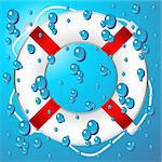 Marine buoy over water blue pattern background Stock Photo - Royalty-Free, Artist: pnog, Code: 400-04068430
