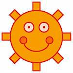 Illustration of a simplistic cartoon sun Stock Photo - Royalty-Free, Artist: darrenwhi, Code: 400-04069453