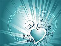 vector wallpaper of gradient sea green hearts Stock Photo - Royalty-Freenull, Code: 400-04069970