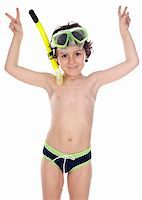 Adorable child with diving mask  over white background Stock Photo - Royalty-Freenull, Code: 400-04070928