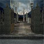 3D Render of an Mystic Cemetery Stock Photo - Royalty-Free, Artist: Digitalstudio, Code: 400-04073034