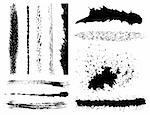 Set of 12 vector grunge ink brush strokes.