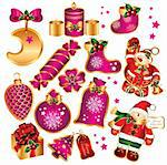 Set of New Year's symbols and elements Stock Photo - Royalty-Free, Artist: marinakim, Code: 400-04075311