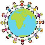 Happy children holding hands around the world Stock Photo - Royalty-Free, Artist: Virtuelle, Code: 400-04076847