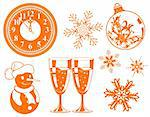 Collect Christmas element with bauble, clock, glass, snowman, element for design, vector illustration Stock Photo - Royalty-Free, Artist: TAlex, Code: 400-04077469