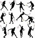 tennis players silhouettes - vector Stock Photo - Royalty-Free, Artist: nebojsa78, Code: 400-04078491