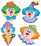 Clowns head collection - vector illustration. Stock Photo - Royalty-Free, Artist: clairev, Code: 400-04079074