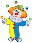 Juggling cartoon clown - vector illustration. Stock Photo - Royalty-Free, Artist: clairev, Code: 400-04079078