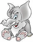 Gray Elephant - detailed colored illustration as vector Stock Photo - Royalty-Free, Artist: derocz, Code: 400-04079170
