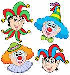 Clowns head collection 2 - vector illustration. Stock Photo - Royalty-Free, Artist: clairev, Code: 400-04079842