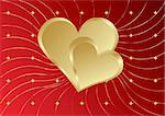Red golden Heart with speck on a lines background with stars Stock Photo - Royalty-Free, Artist: BooblGum, Code: 400-04079963