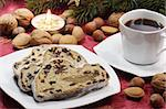 Sliced stollen on a plate with a cup of coffee Stock Photo - Royalty-Free, Artist: Teamarbeit, Code: 400-04083160