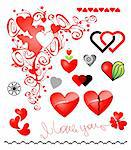 Various variants of hearts for your design