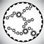 poster with gearwheel in black and white color Stock Photo - Royalty-Free, Artist: BooblGum, Code: 400-04084711