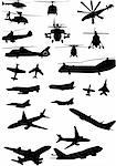 assorted helicopter and airplane silhouettes in black Stock Photo - Royalty-Free, Artist: BooblGum, Code: 400-04084841