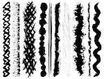 Set of 10 vector grunge ink brush strokes.