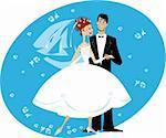 A vector cartoon illustration of newlyweds couple