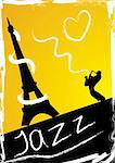 Abstract design with saxophonist and eiffel Tower Stock Photo - Royalty-Free, Artist: BooblGum, Code: 400-04089659