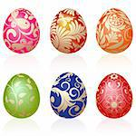 Set of six Easter eggs with gold ornaments Stock Photo - Royalty-Free, Artist: Lep, Code: 400-04092025