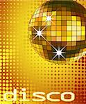 retro party background with disco ball, illustration Stock Photo - Royalty-Free, Artist: dip, Code: 400-04092321