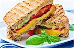 Grilled cheese and tomato sandwich on a plate Stock Photo - Royalty-Free, Artist: Elenathewise, Code: 400-04093650