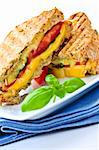 Grilled cheese and tomato sandwich on a plate Stock Photo - Royalty-Free, Artist: Elenathewise, Code: 400-04093651