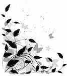 Vector grunge floral background, black and white. Isolated on white, vector Stock Photo - Royalty-Free, Artist: jara3000, Code: 400-04096643