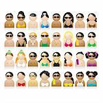 Set of peoples icons, summer vacations Stock Photo - Royalty-Free, Artist: Kudryashka, Code: 400-04098126