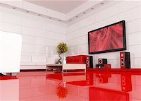 red and white living room with home theater , the image on tv screen is a my image - rendering Stock Photo - Royalty-Freenull, Code: 400-04098343