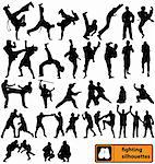 big fighting silhouettes collection with high detail Stock Photo - Royalty-Free, Artist: kamphi, Code: 400-04099996