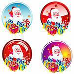 Santa and gift boxes stickers Stock Photo - Royalty-Free, Artist: DavidArts, Code: 400-04103727