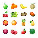 Set of colorful isolated fruits for calorie table illustration Stock Photo - Royalty-Free, Artist: sahua, Code: 400-04105423