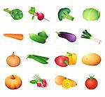 Set of colorful isolated vegetables for calorie table illustration Stock Photo - Royalty-Free, Artist: sahua, Code: 400-04106918