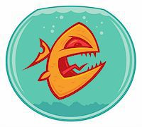 piranha fish - Vector cartoon of an angry and vicious goldfish in a small fishbowl. He could also be a piranha. Stock Photo - Royalty-Freenull, Code: 400-04108264