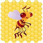 Cute vector honey bee in front of a honeycomb background drawn in a humorous cartoon style. Stock Photo - Royalty-Free, Artist: fizzgig, Code: 400-04108281