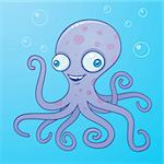 Vector cartoon illustration of a wacky happy octopus in the water with bubbles. Stock Photo - Royalty-Free, Artist: fizzgig, Code: 400-04108285