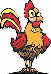 Rooster with bright red and yellow feathers in the farmyard. Stock Photo - Royalty-Free, Artist: xochicalco, Code: 400-04108510