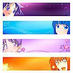 Colorful anime banner or sider backgrounds. Base banner size is 120x600. Stock Photo - Royalty-Free, Artist: sahua, Code: 400-04109123