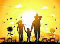 Happy family walks on nature, sunset Stock Photo - Royalty-Freenull, Code: 400-04110469