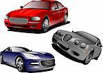 Three cars. Sedan. Vector illustration Stock Photo - Royalty-Free, Artist: leonido, Code: 400-04112481