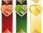 The Valentine's Day Heart banners in three color Stock Photo - Royalty-Free, Artist: WaD, Code: 400-04113918