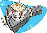 Retro Mercury Space Capsule with a boy in a spacesuit. Stock Photo - Royalty-Free, Artist: xochicalco, Code: 400-04115315