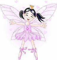 Cute violet fairy ballerina flying Stock Photo - Royalty-Freenull, Code: 400-04115376