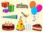 Happy Birthday set. Use to create greeting cards and party invitations. Please visit my portfolio for similar images. Stock Photo - Royalty-Free, Artist: UltraPop, Code: 400-04115550