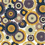 Abstract Retro Flowers Retro Seamless Background