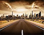 Road leading to a polluted city Stock Photo - Royalty-Free, Artist: kwest, Code: 400-04118129