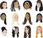 Twelve different Women of different races and cultures with or wuthout colorful background, see my other illustrations. Diversity Stock Photo - Royalty-Free, Artist: BasheeraDesigns, Code: 400-04123123