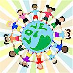 Kids Love Around World Holding Hands Stock Photo - Royalty-Free, Artist: BasheeraDesigns, Code: 400-04123124
