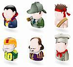 An avatar people web or internet icon set series. Includes a vampire or count dracula character, a sherlock holmes character, a rambo character, an american football player, a shakespear character, and a chef or cook Stock Photo - Royalty-Free, Artist: Krisdog, Code: 400-04123363